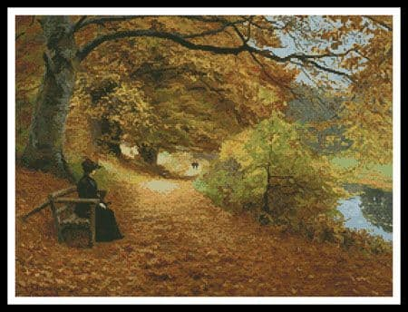 A Wooded Path in Autumn by Artecy printed cross stitch chart